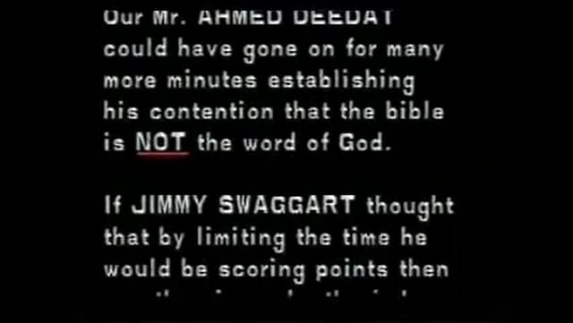 "Ahmed Deedat & Jimmy Swaggart Debate ""Is the Bible the Word of God?"" - Part 1"